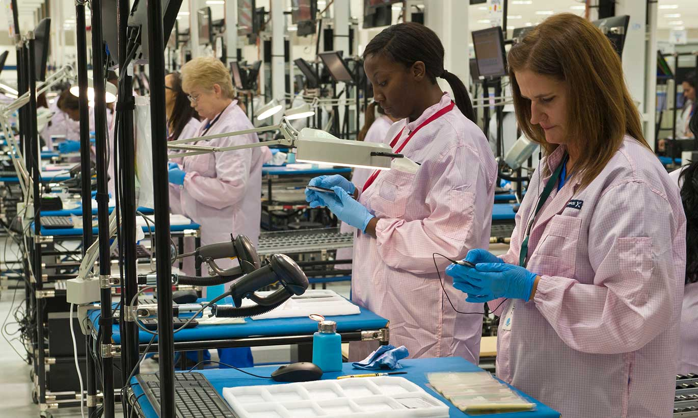 Women at Flextronics develop products in Fort Worth, Texas.
