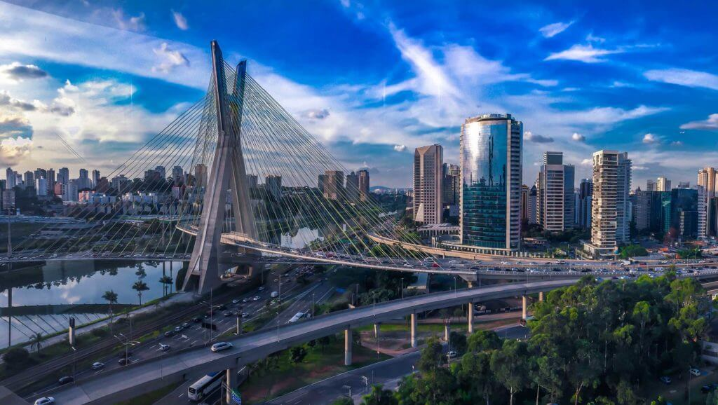 Bridges and highways intersect in Sao Paulo, Brazil. Multiple Brazilian companies do business with Texas.