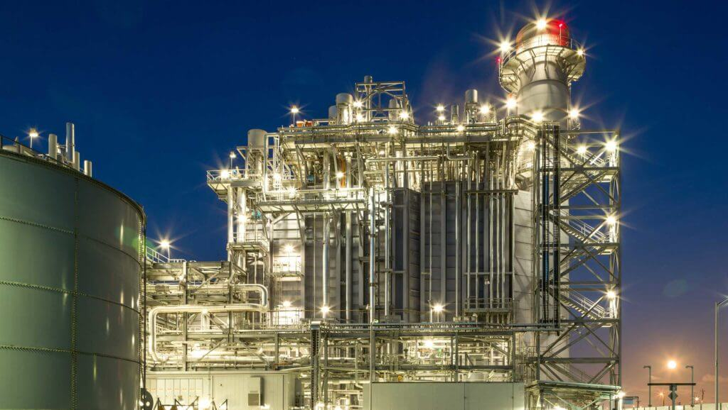 Calpine energy facilities lit up at night
