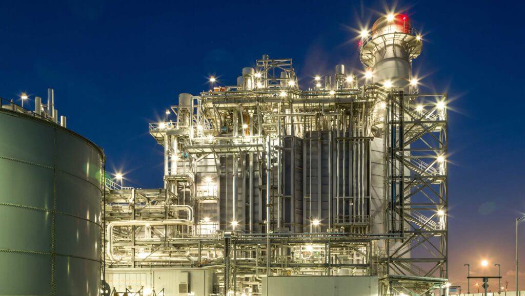 Calpine energy facilities lit up at night