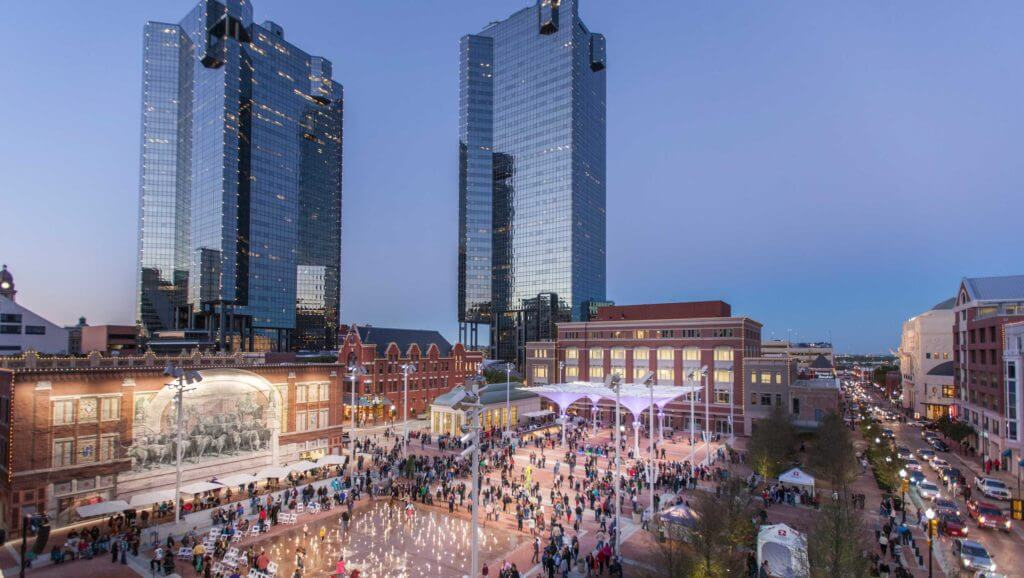 People mill around Sundance Square in Fort Worth, Texas to shop, eat and relax.