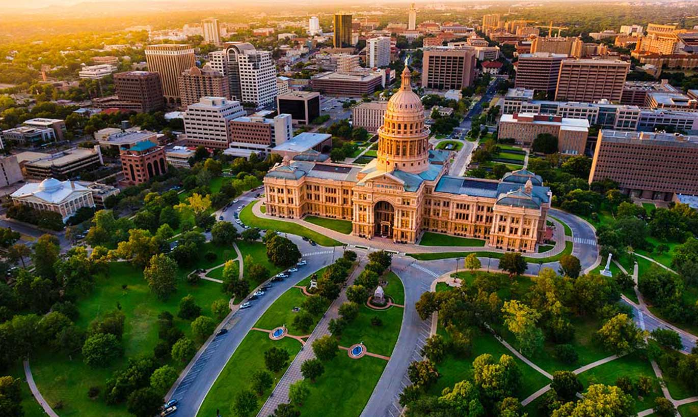 Aerial view of the Austin Capitol building in Austin, Texas.