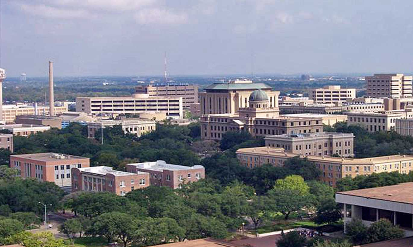 Aerial view of buildings in downtown College Station, Texas.