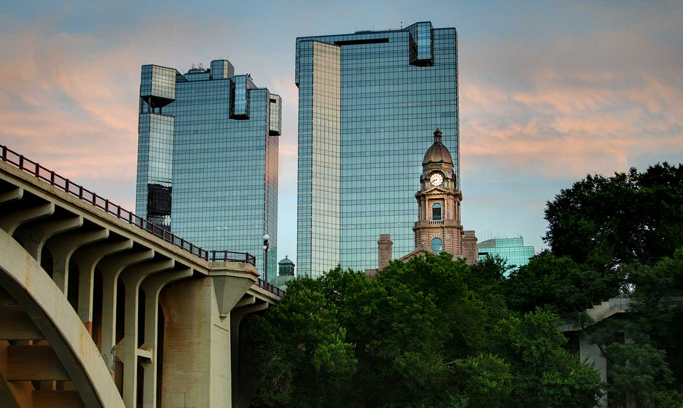 View of downtown Fort Worth at dusk.
