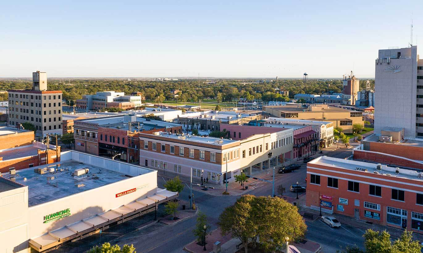 Aerial view of office buildings in Temple, Texas.