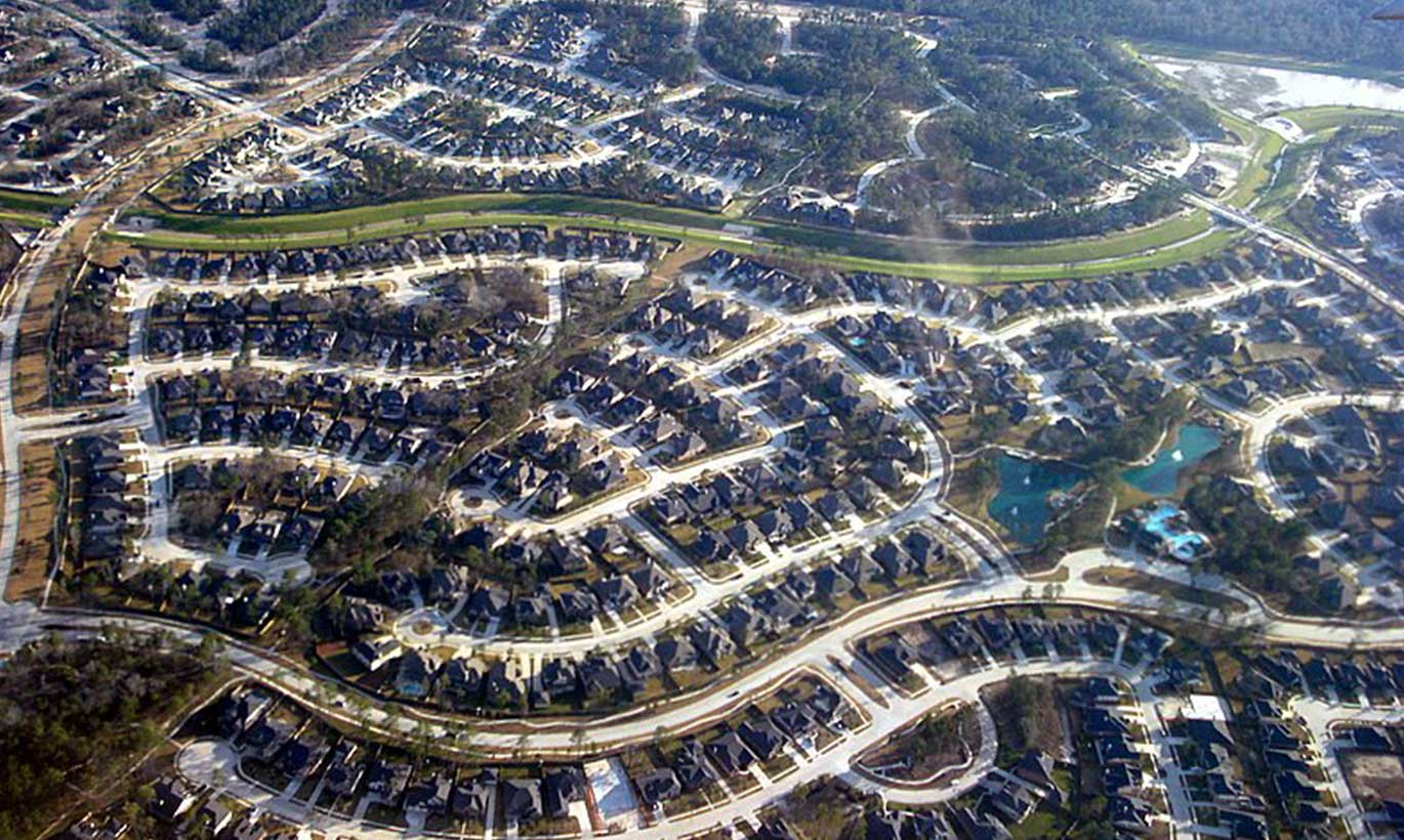 An aerial shot of new housing development and neighborhoods in The Woodlands, Texas