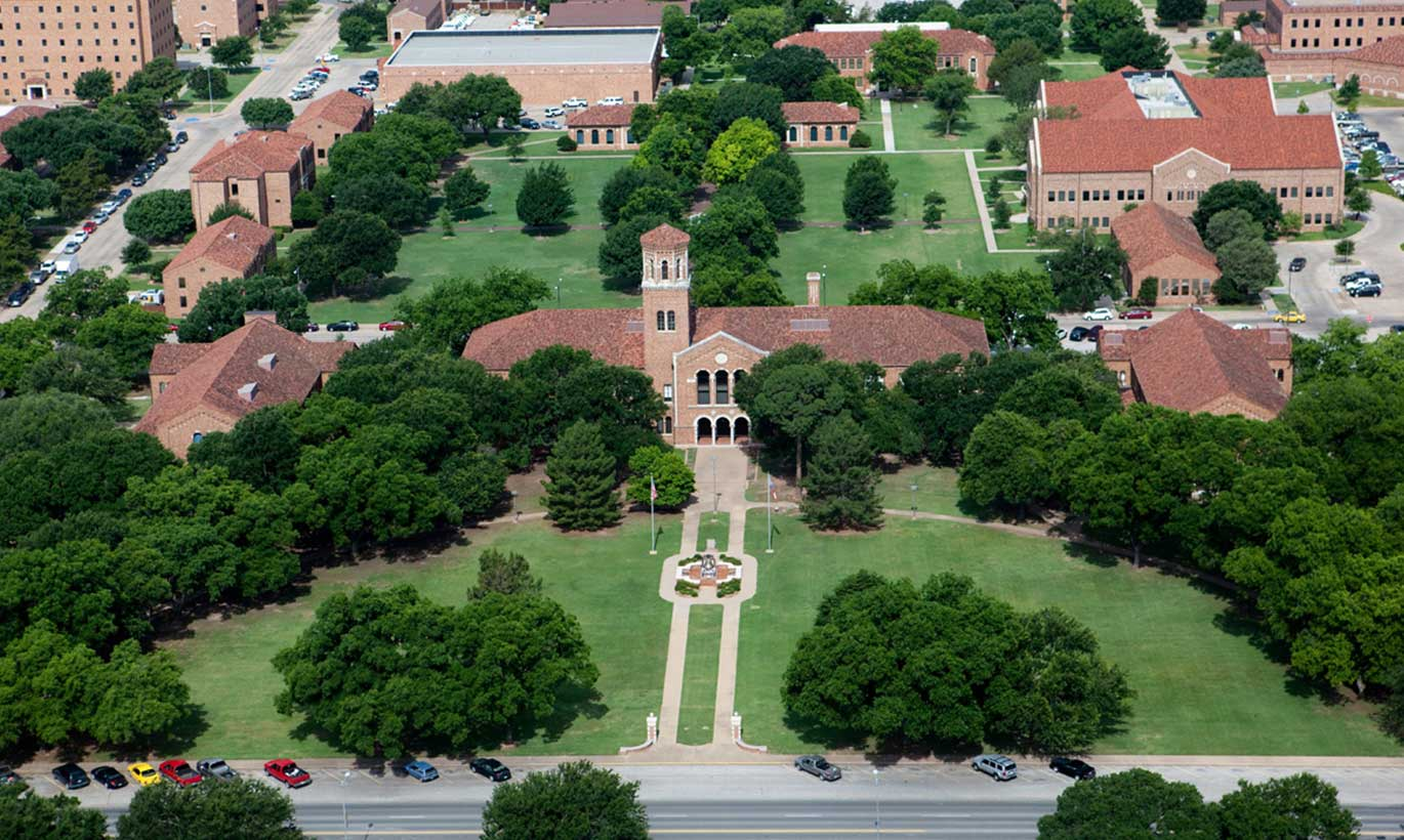 Aerial view of the Midwestern State University campus in Wichita Falls, Texas.