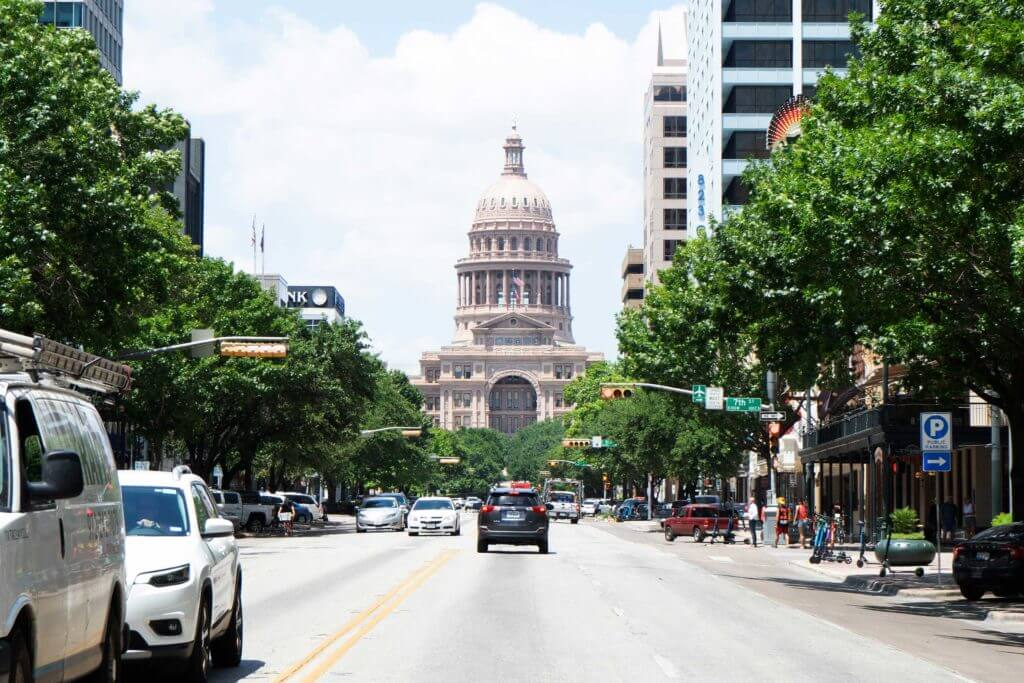 View of the Austin Capitol building from the street in Austin, Texas.