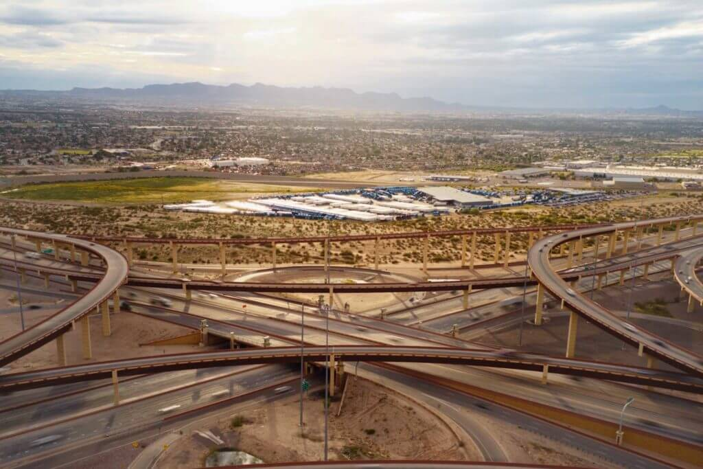 A large interconnected system of highways and overpasses converges in El Paso, Texas.