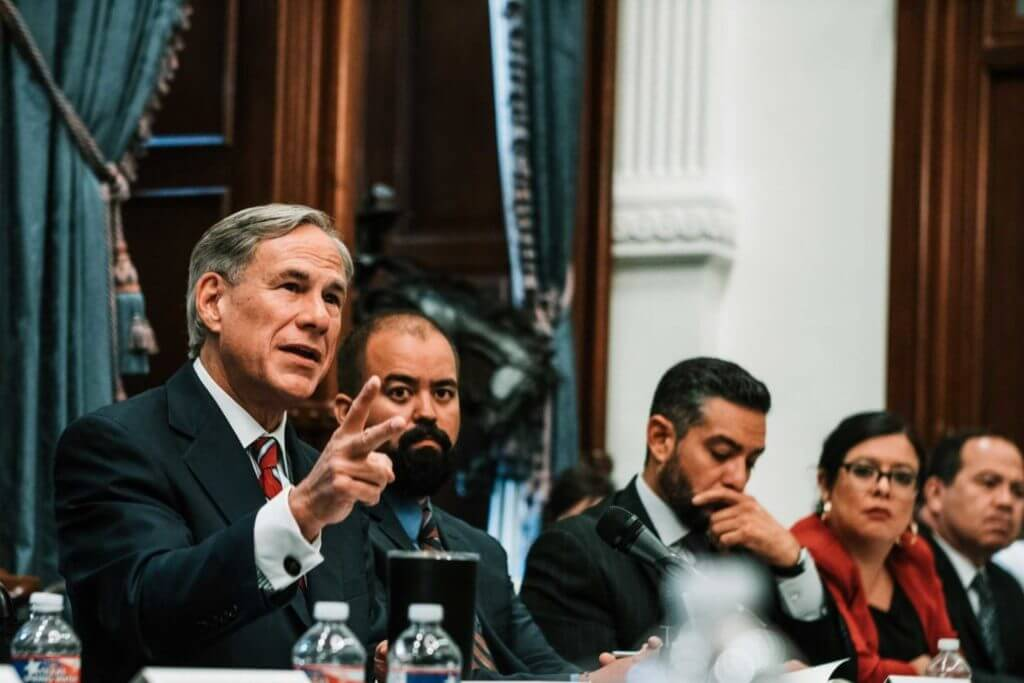 Governor Abbott at the first Texas Safety Commission meeting with lawmakers, educators, and community leaders in Texas.