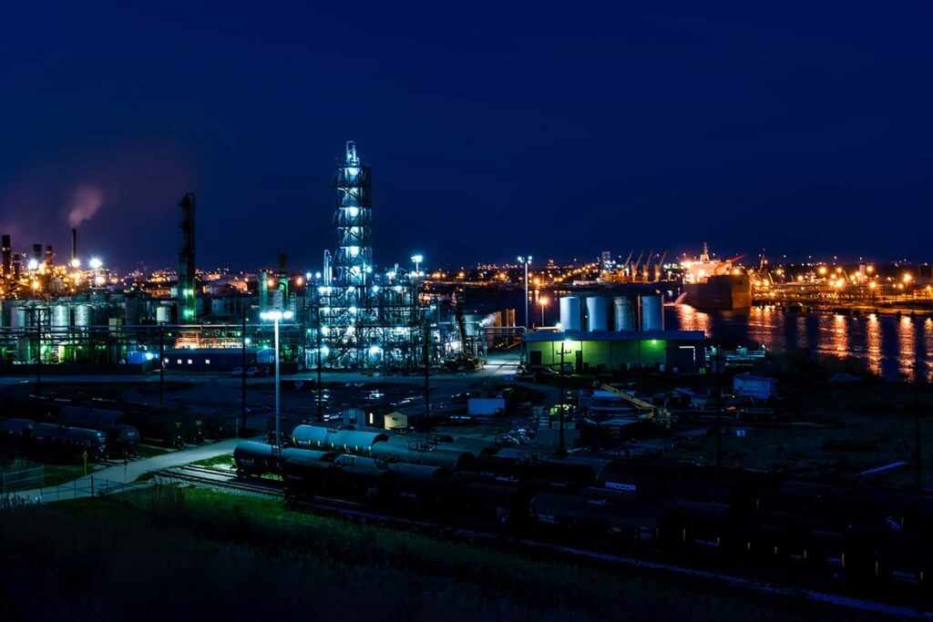 A large port and oil refinery in Port Arthur, Texas
