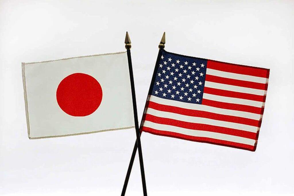 The Japenese flag and US flag