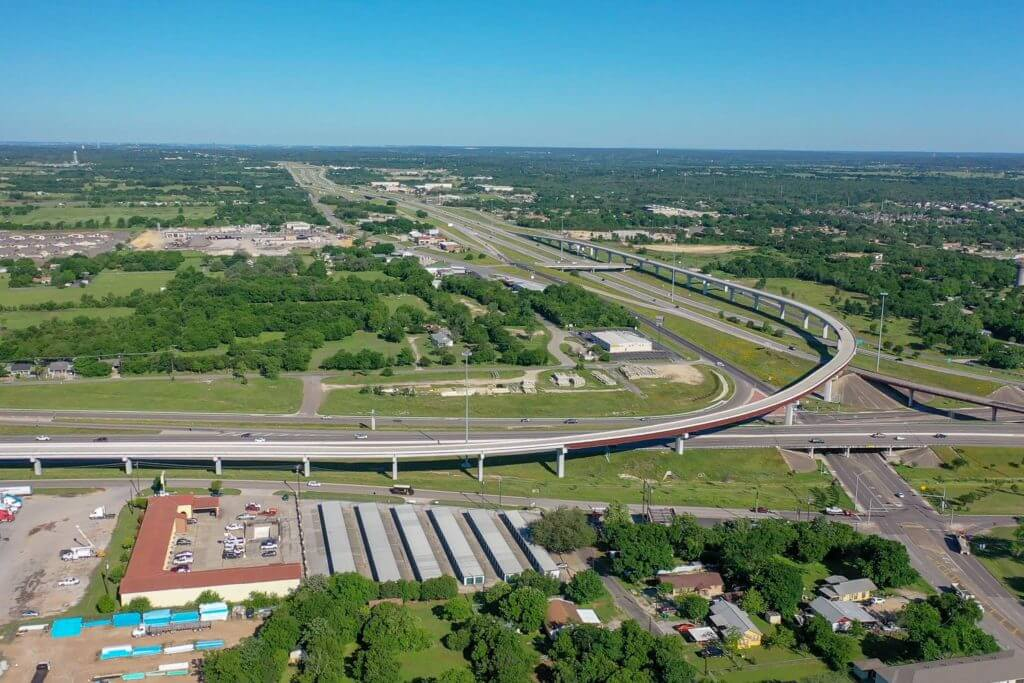 Aerial view of highway overpass in Temple, Texas.