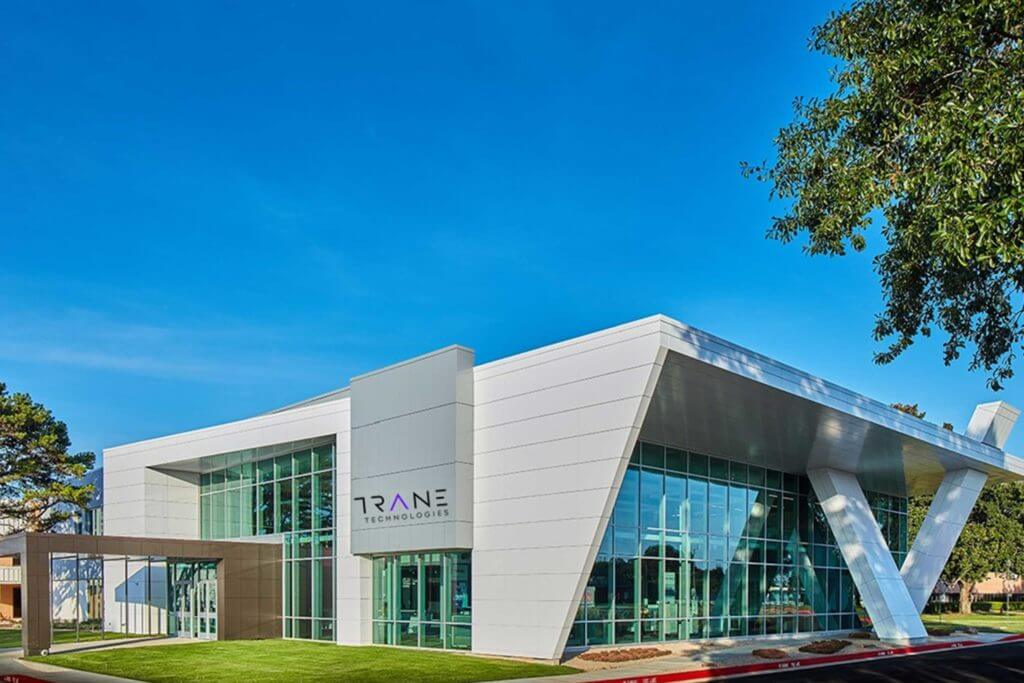 Exterior view of the modern Trane Technologies building in Tyler, Texas.