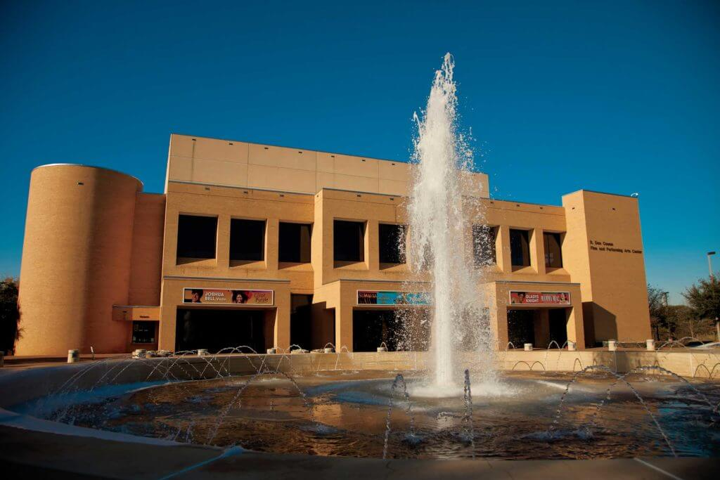 A fountain sits outside the Cowen Center for Performing Arts at The University of Texas at Tyler.