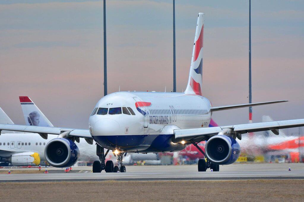 A British airways plane on a landing pad