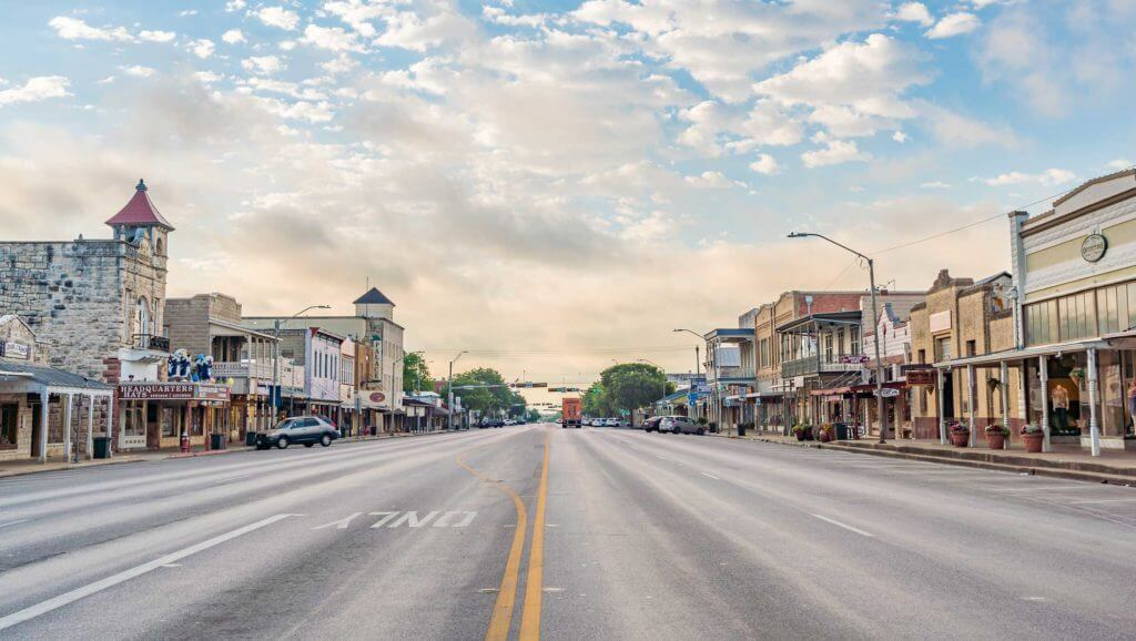 Street view of the main road in downtown Fredericksburg, Texas.