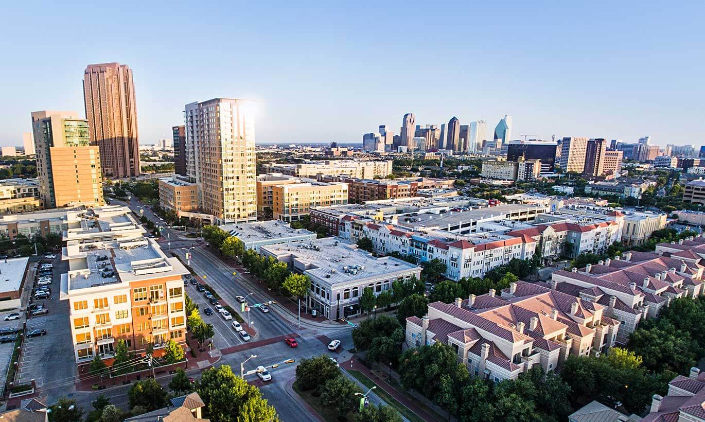 Aerial view of a residential area in Dallas, Texas.