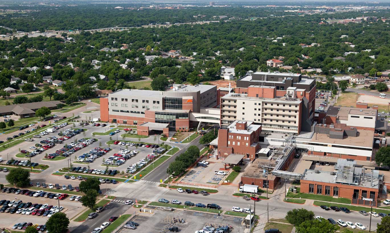 Aerial view of major office buildings and parking lots in Wichita Falls, Texas.